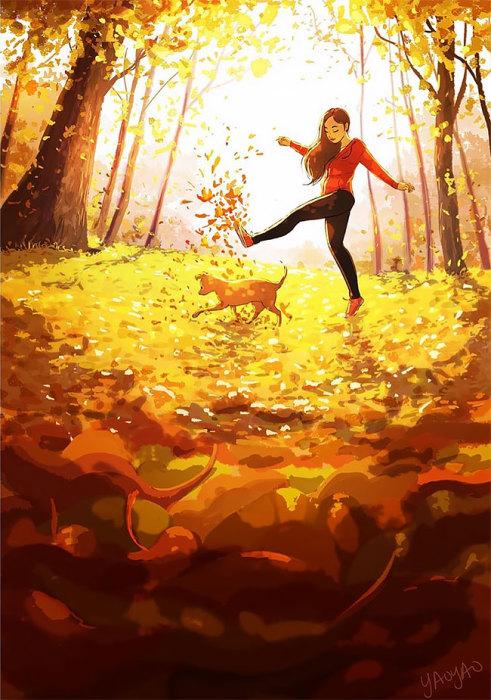 Разбрасывать листья. Автор: Yaoyao Ma Van.