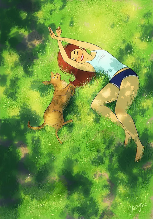 Валяться в траве. Автор: Yaoyao Ma Van.