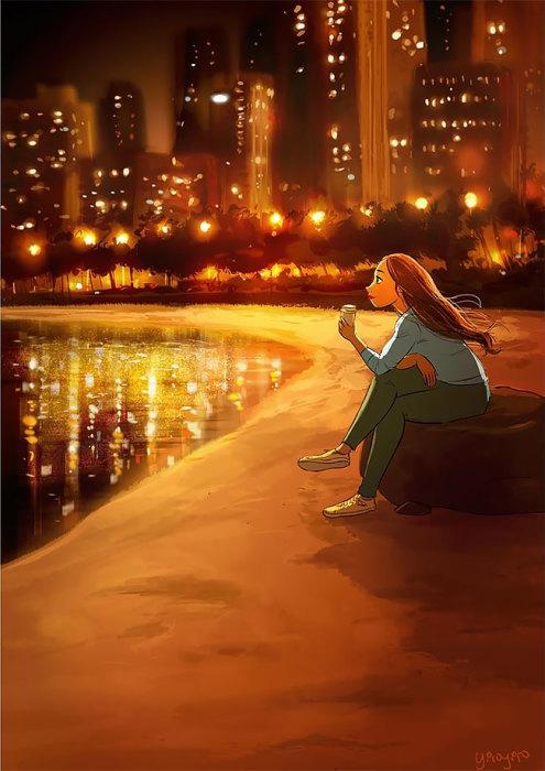 Любоваться ночными огнями в отражении водной глади. Автор: Yaoyao Ma Van.