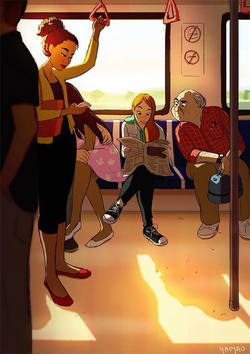 Кататься в общественном транспорте, читая газеты. Автор: Yaoyao Ma Van.