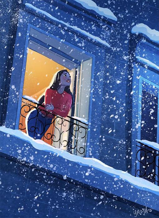 Любоваться снегопадом. Автор: Yaoyao Ma Van.