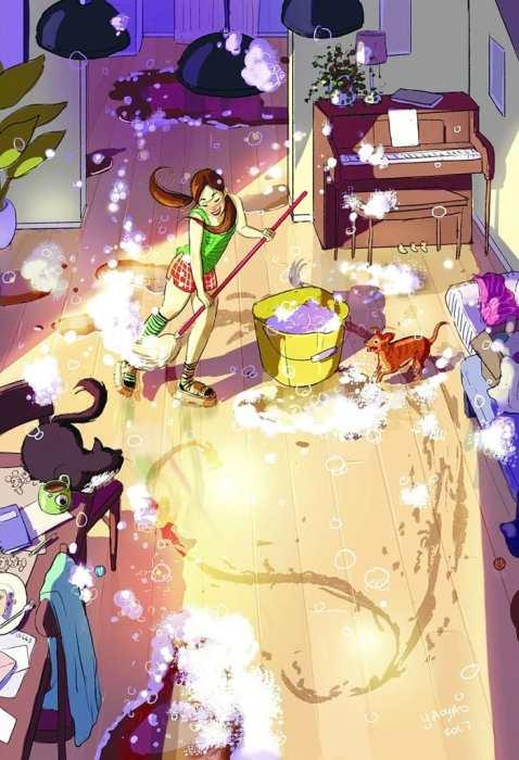 Устроить грандиозную уборку в виде маленького шоу. Автор: Yaoyao Ma Van.