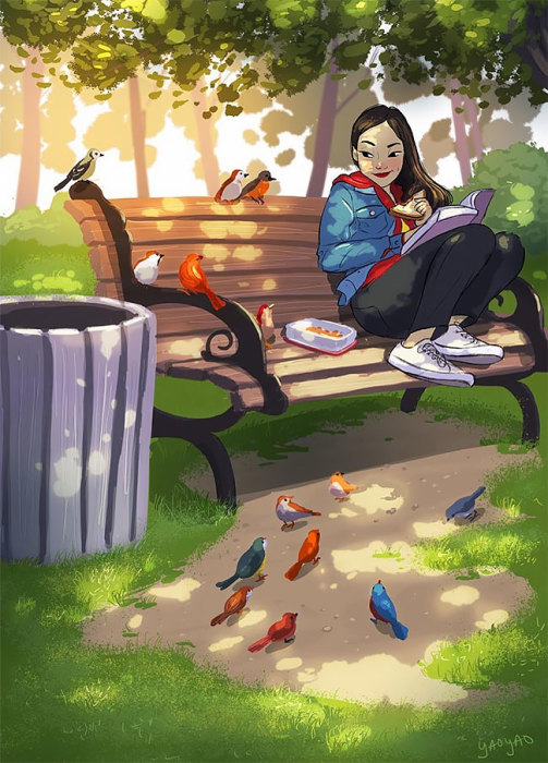 Весь день сидеть в парке в компании птичек. Автор: Yaoyao Ma Van.