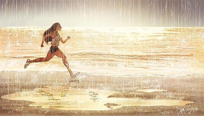 Наслаждаться пробежкой под проливным дождём. Автор: Yaoyao Ma Van.