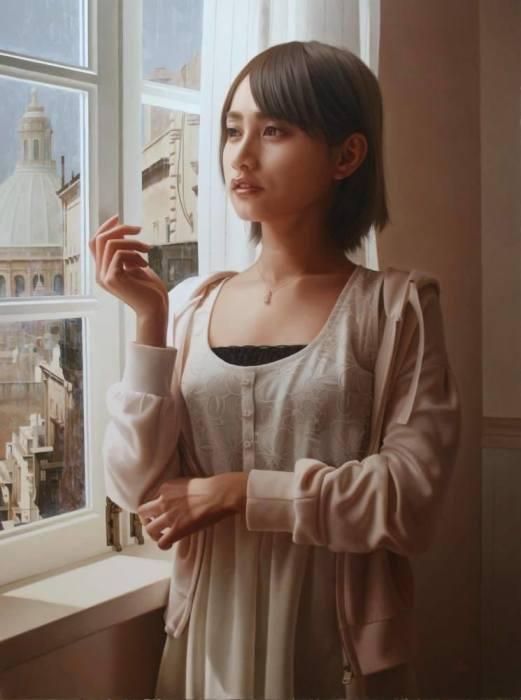 Возле окна. Автор: Yasutomo Oka.