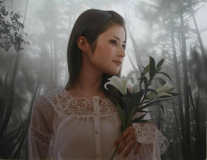 Белые лилии. Автор: Yasutomo Oka.