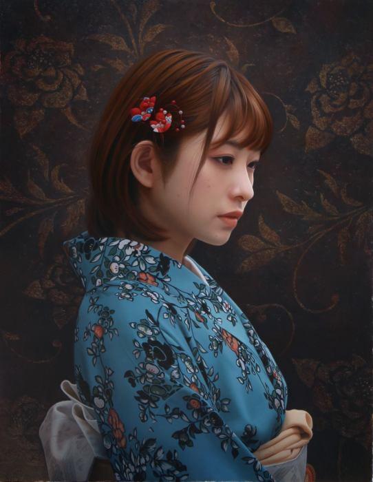 Девушка в кимоно. Автор: Yasutomo Oka.