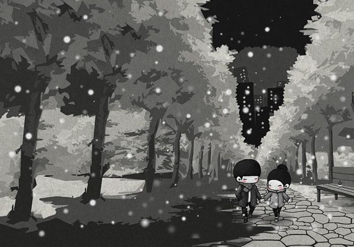 Зимний вечер. Автор: Young Joo Kim.