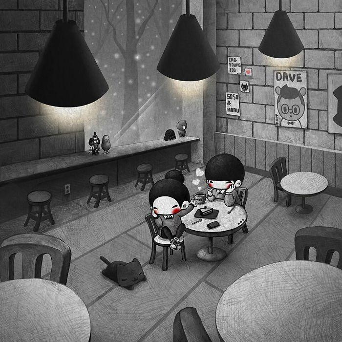 Вечер в уютном кафе. Автор: Young Joo Kim.