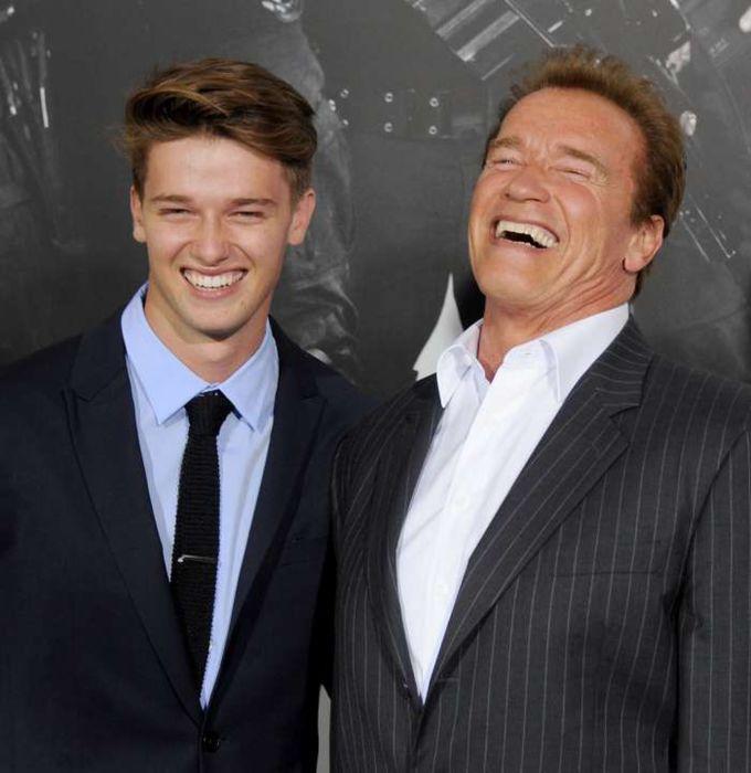 Патрик и его отец Арнольд Шварценеггер. \ Фото: nydailynews.com.