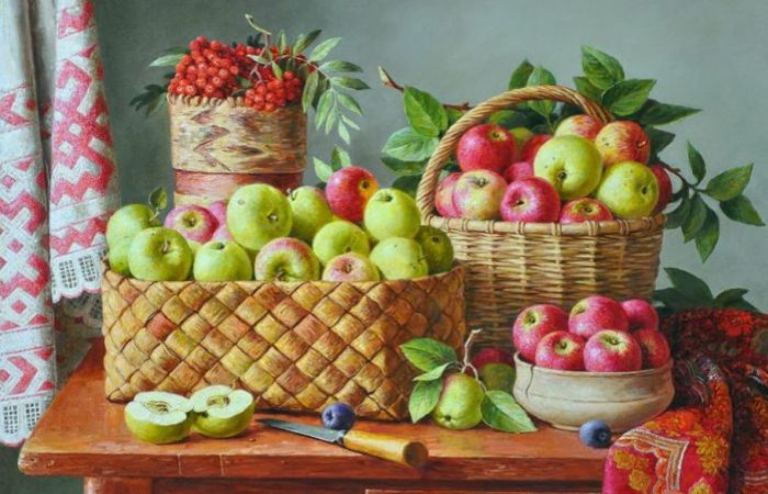 Натюрморт с яблоками. Автор: Юрий Кудрин.