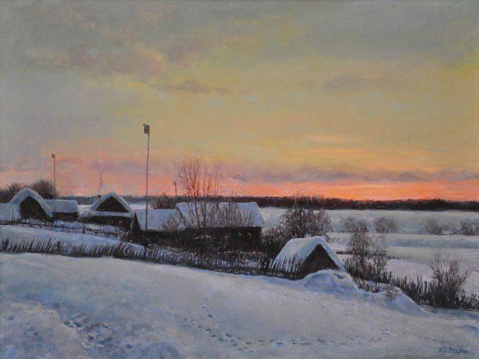 Морозный закат. Автор: Юрий Кудрин.