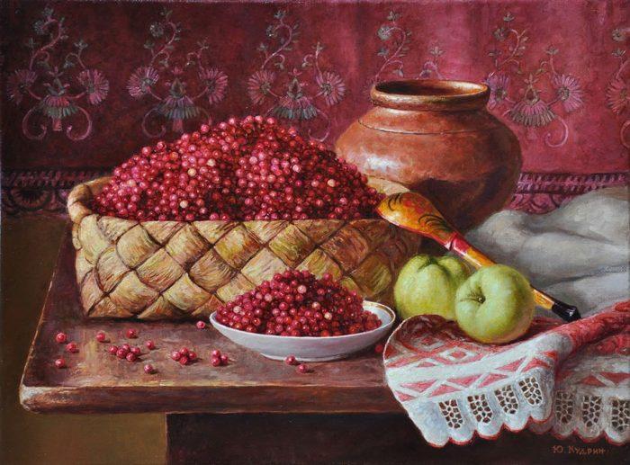 Натюрморт с брусникой. Автор: Юрий Кудрин.