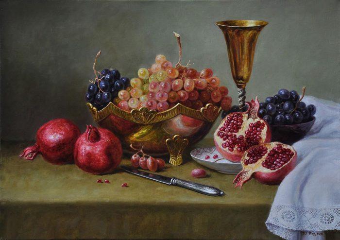 Натюрморт с гранатом и виноградом. Автор: Юрий Кудрин.