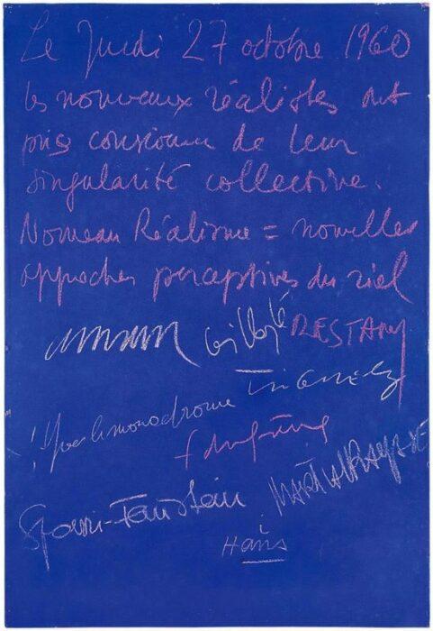 Учредительная декларация нового реализма, 1960 год. \ Фото: pinterest.ru.