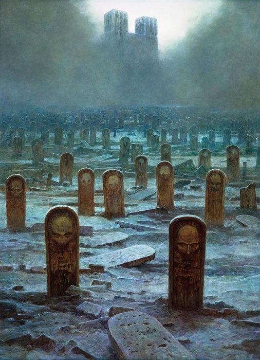 Кладбище. Автор: Zdzislaw Beksinski.