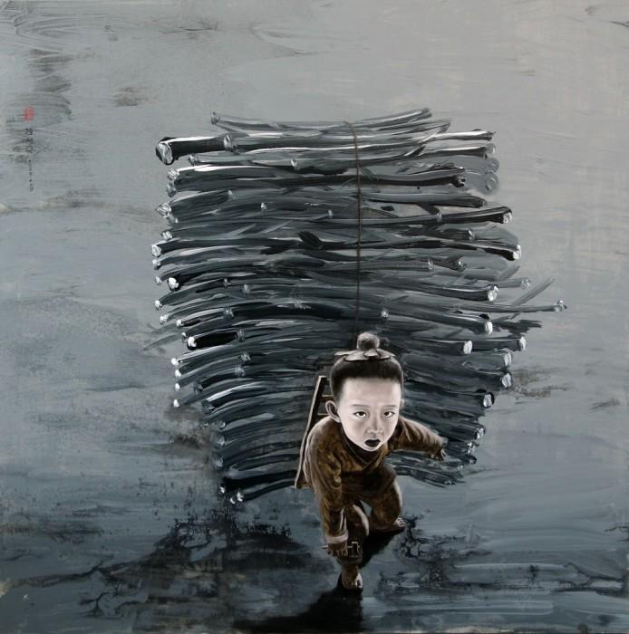 Г-н Юй и его ноша. Автор: Zhao Limin.