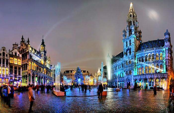 Ночной Брюссель.