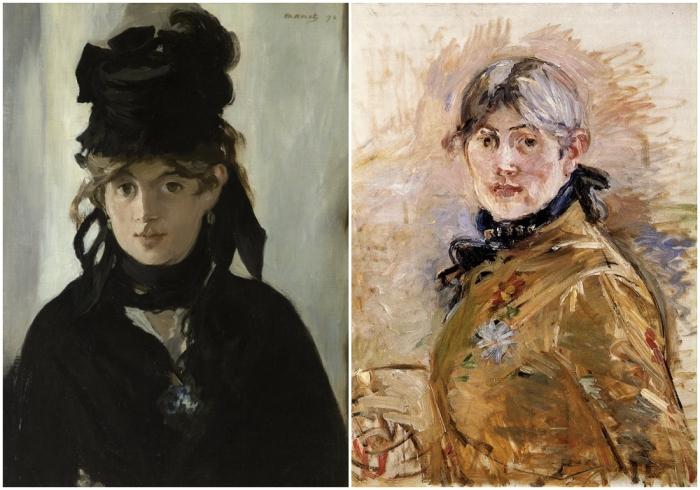 Слева направо: Берта Моризо с букетом фиалок, портрет работы Эдуарда Мане, 1872 год. \ Автопортрет.