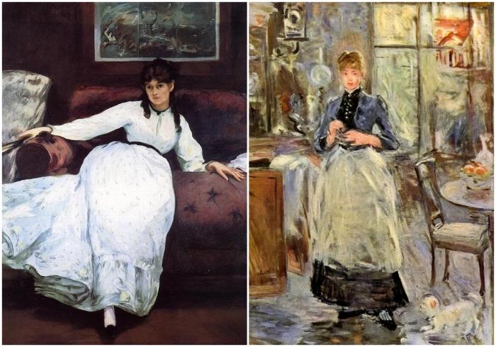 Слева направо: покой, Эдуард Мане, 1870 год. \ В столовой, Берта Моризо.
