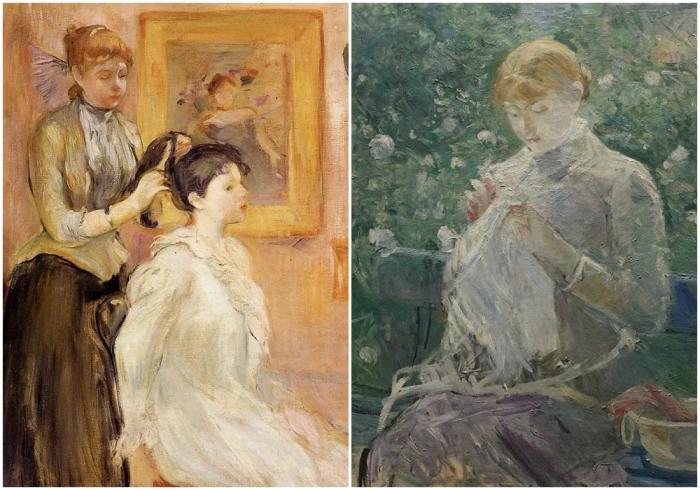 Слева направо: Парикмахер, Берта Моризо. \ Женщина шьёт в саду, Берта Моризо.