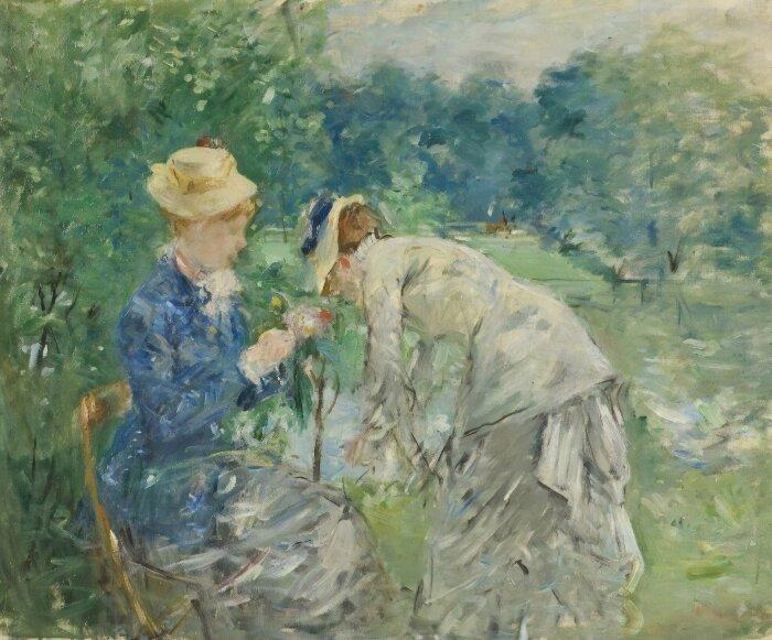 На скамейке в Булонском лесу, Берта Моризо, 1870 год. \ Фото: escapetosouvenir.com.