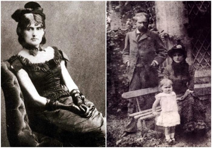Слева направо: Фотография, на которой запечатлена Берта Моризо. \ Семейная фотография: Берта Моризо с мужем и дочерью.