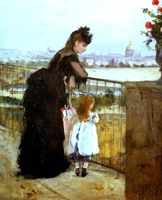 Женщина и ребёнок на балконе, Берта Моризо, 1872 год. \ Фото: conniejjasperson.com.