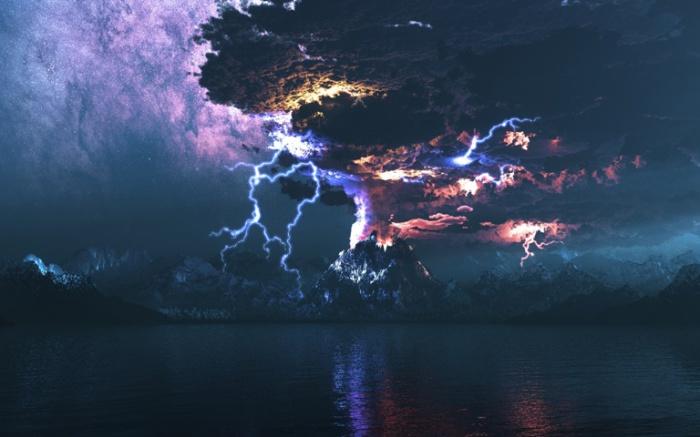 Вулканические молнии.