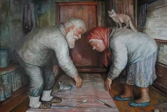 Чем дорожить? Гость пришёл и ушёл. а нам с бабкой жить. Автор: Леонид Баранов.