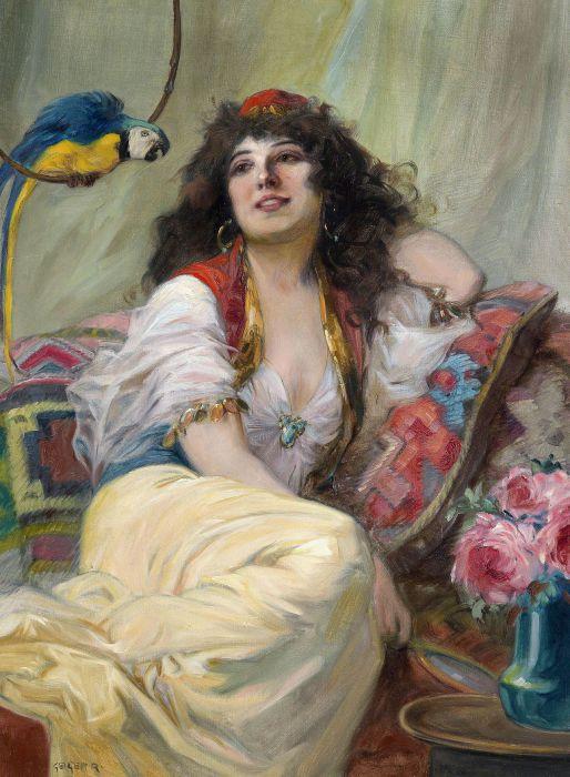 Ричард Гейгер (Richard Geiger),  (1870-1945). Наложница с попугаем (Haremsdame mit Papagei).