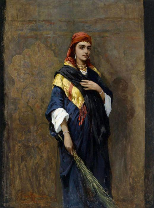 Тадеуш фон Айдукевич (Thaddaus von Ajdukiewicz) (1852 – 1916) Портрет восточной женщины с веткой в руках (Portrait of an Oriental Woman holding a Branch).