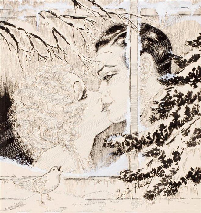 Трогательный поцелуй. Автор: Дороти Флэк (Dorothy Flack).