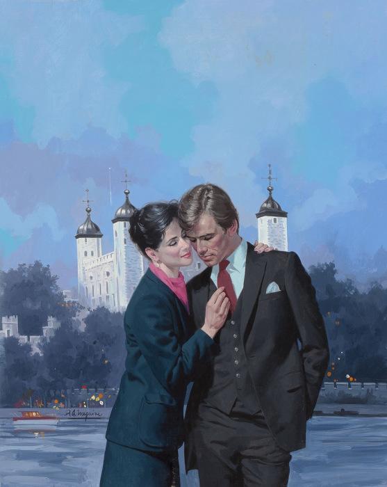 Встреча влюблённых. Романтические ретро-иллюстрации.
