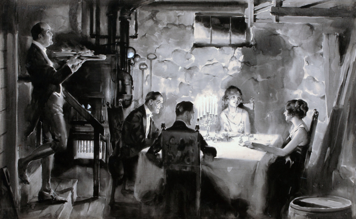 Романтический ужин. Ретро-иллюстрации.