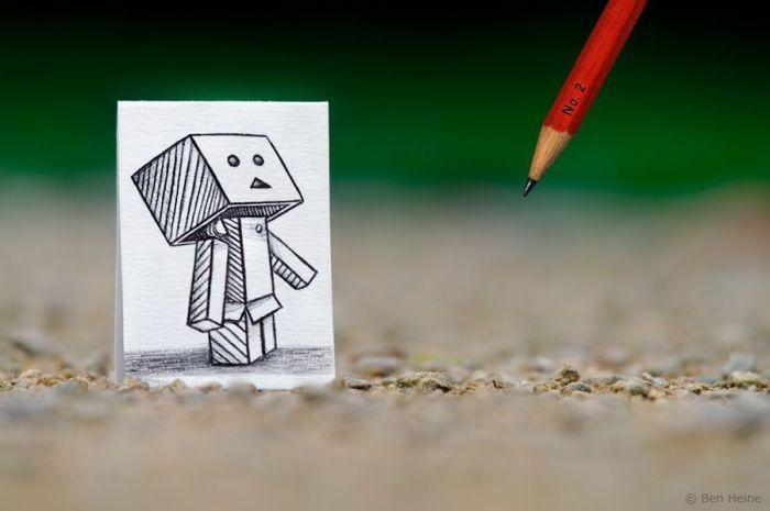 Приключение маленького робота. Автор: Ben Heine.
