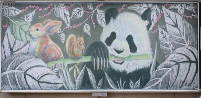 Панда и бамбуковая палочка.