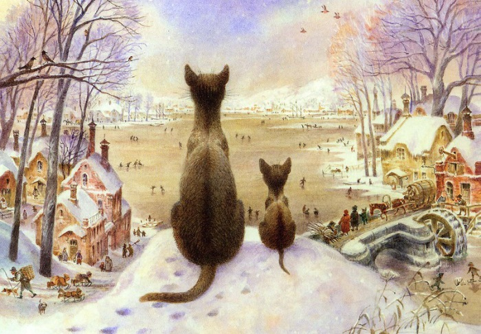 Первая зима. Автор: российский художник Владимир Румянцев.
