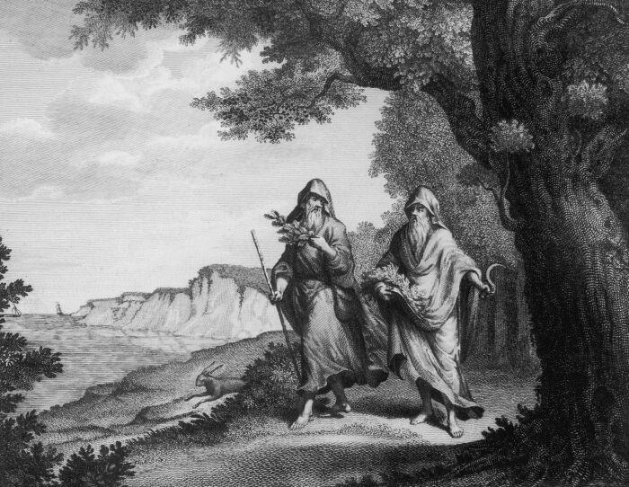 Два друида, прогуливающиеся по английской сельской местности, XVIII век. \ Фото: elastickare.rockahula.org.