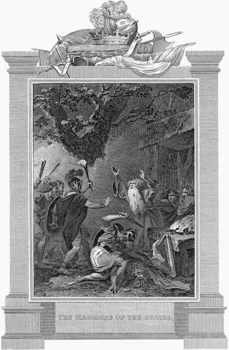 Римские солдаты, нападающие на друидов в I веке н. э., гравюра XIX века. \ Фото: google.com.