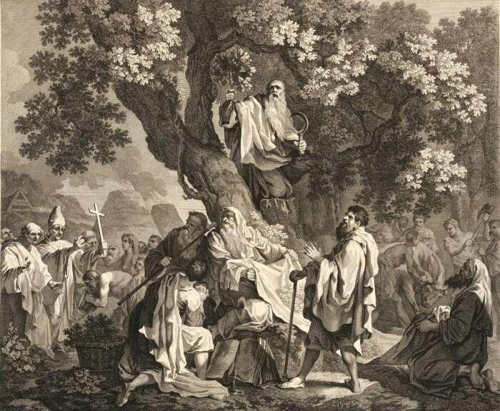 Друиды, или обращение британцев в христианство, Симон Франсуа Равене I, 1778 год. \ Фото: twitter.com.