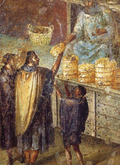 Фреска из дома Юлии Феликс в Помпеях, изображающая раздачу хлеба. \ Фото: app.emaze.com.