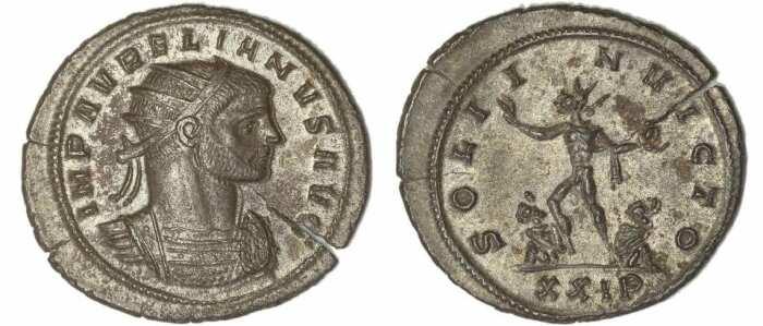 Монета Аврелиана с изображением Солнца Непобедимого на реверсе, 270-275 гг. н. э. \ Фото: twitter.com.