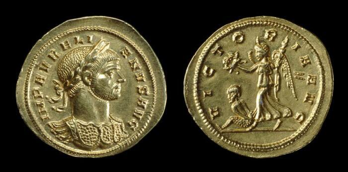 Золотая монета Аврелиана, изображающая победу с венком на реверсе, 270-275 гг. н. \ Фото: britishmuseum.org.