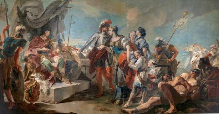 Триумф Аврелиана или королева Зенобия перед Аврелианом, Джованни Баттиста Тьеполо, 1717 год. \ Фото: museodelprado.es.