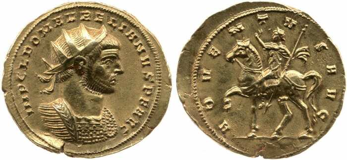 Золотая монета Аврелиана, изображающая императора в полном военном облачении на реверсе, 270-275 гг. н. э. \ Фото: pinterest.ru.