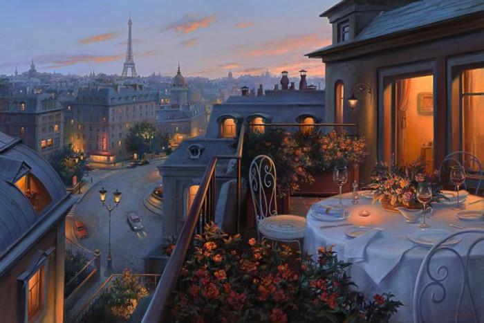Вечер в Париже. Сказочная атмосфера в работах Евгения Лушпина.