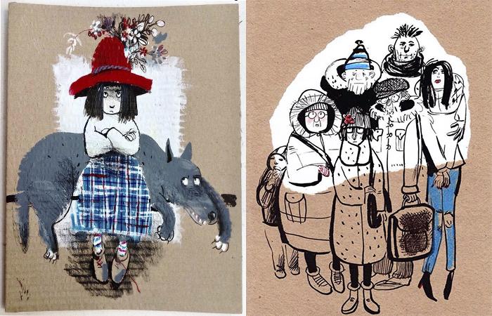Жизнерадостные иллюстрации Евгении Двоскиной.