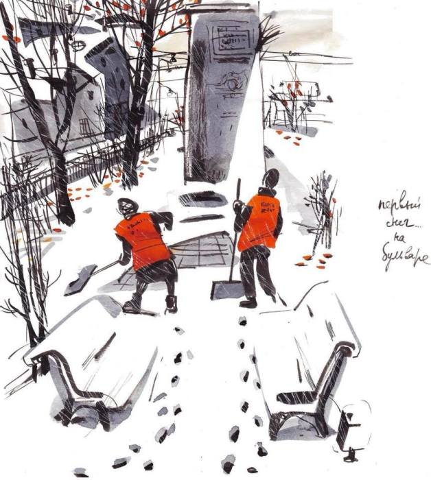 Первый снег на бульваре. Автор: Евгения Двоскина.