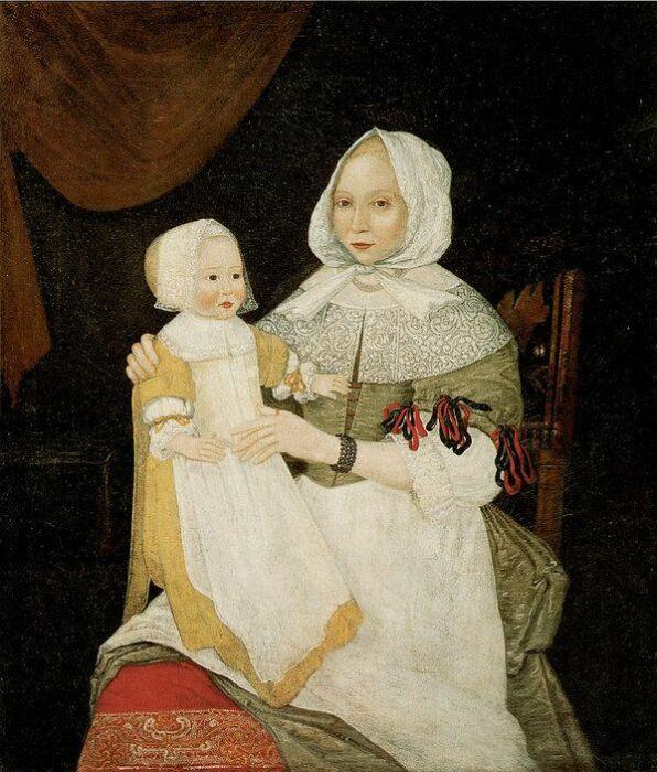 Элизабет Кларк Фрик (миссис Джон Фрик) и Малышка Мэри, неизвестный художник, 1674 год. \ Фото: pinterest.com.